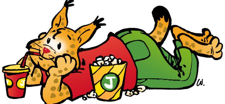 Piirretty kuntamaskotti-ilves makoilee ja katselee elokuvaa popcornien ja limun kera.