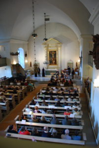 view from inside the church of St. Lawrence in Janakkala Finland