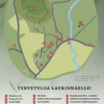 Piirretty kartta Laurimäen luontopolusta ja sen pisteistä.