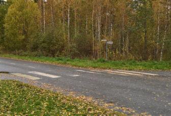 Risteysalue, jossa tien ylittävä suojatie ja kevyen liikenteen väylää.