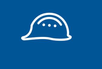 Sähköisen lupajärjestelmän logo, valkoinen työmiehen kypärä sinisellä pohjalla.