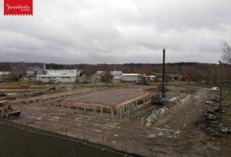 Tervakosken liikuntahallin rakennustyömaa