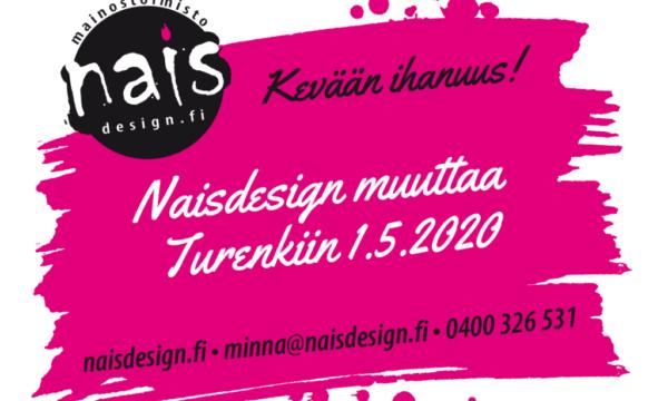 Kuvana teksti Nasidesign muuttaa Turenkiin 1.5.20202