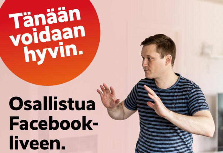 Tänään voidaan hyvin osallistua Facebook-liveen. Liikunnanohjaaja Jorma Vaara opastamassa jumppaliikettä.