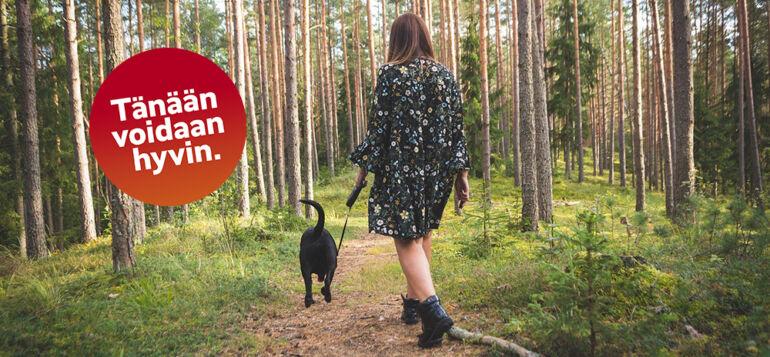 Tänään voidaan hyvin antaa koiran ulkoiluttaa. Koira omistajansa kanssa lenkillä metsässä.