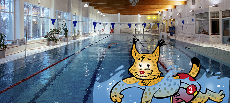 Janakkalan piirretty kuntamaskotti ilves uimassa Tervakosken uimahallissa.