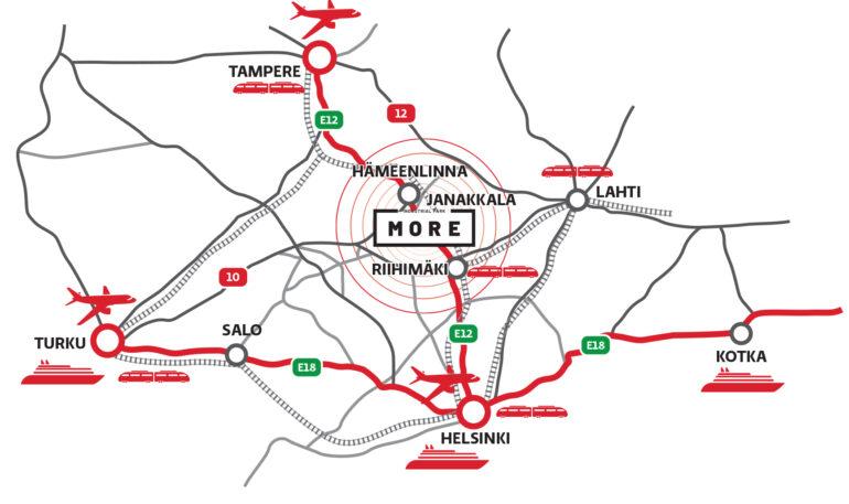 More yritysalueen sijaintikartta.