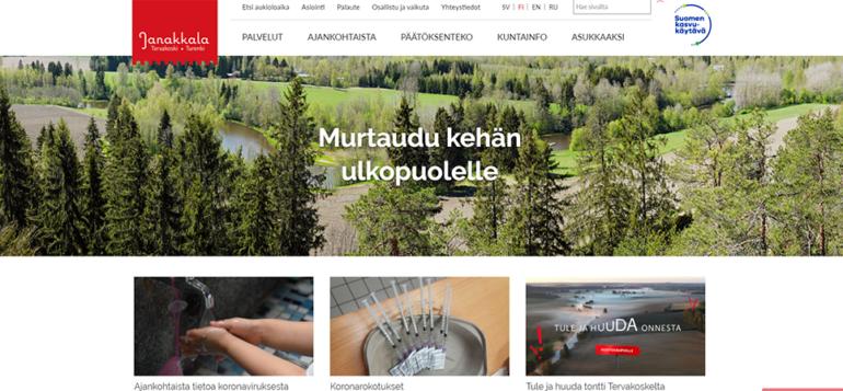 Janakkalan kunnan nettisivujen etusivu.